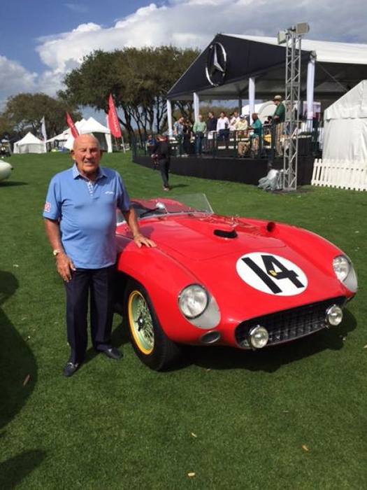 Sir Stirling Moss with the 1956 Ferrari 290 MM