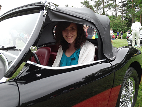 Ashley in her Austin Healey